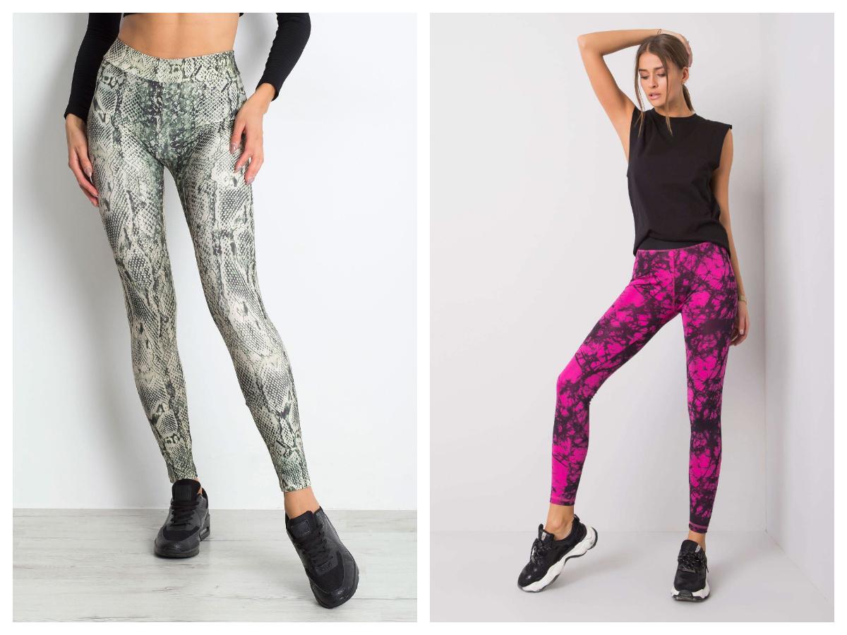sportowe legginsy damskie we wzory w kolorze fuksji